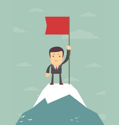 young man standing on top of mountain with flag vector image