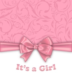 Girl Baby Shower Invitation Card with Pink Bow vector image