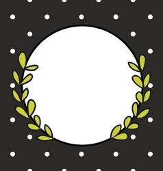 Hand drawn photo frame with laurel wreath and dots vector image vector image