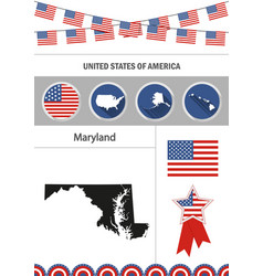 map of maryland set of flat design icons vector image