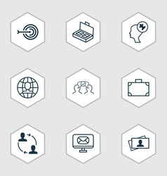 set of 9 business management icons includes email vector image