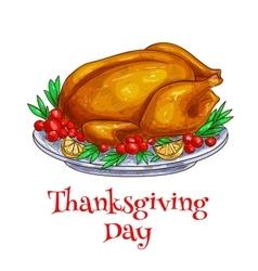 Thanksgiving dinner roasted turkey element vector image vector image