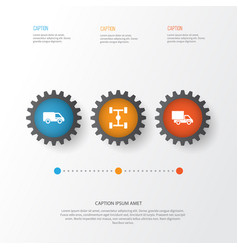 auto icons set collection of truck wheelbase vector image vector image