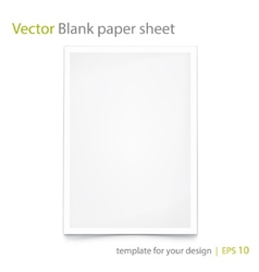 Blank Paper A4 Isolated on white Eps 10 vector image