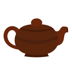 brown chinese teapot icon isolated vector image