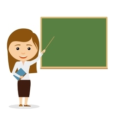 Female teacher on lesson at the chalkboard vector image