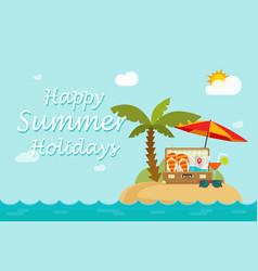 Happy summer holidays text on paradise sand island vector