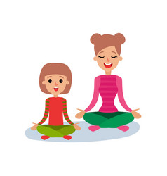 mom meditating with her daughter mother and vector image