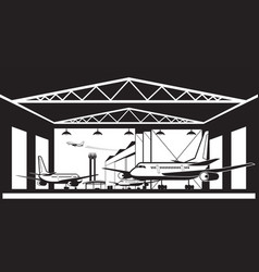 aircraft hangar at airport vector image vector image