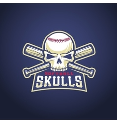 Baseball Team Logo Template Skull and Crossed vector image