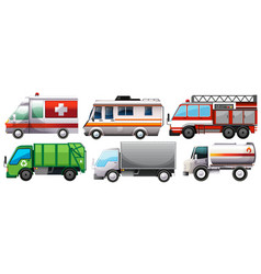 different types of service trucks vector image
