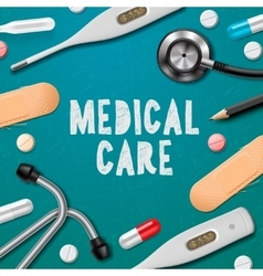Medical care medicine template vector image vector image