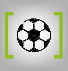 soccer ball sign black scribble icon in vector image