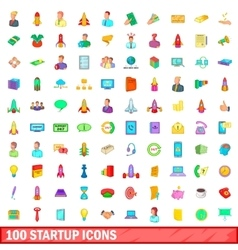 100 startup icons set cartoon style vector image