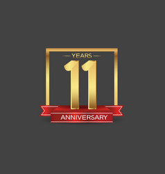 11 years anniversary logo style with golden vector