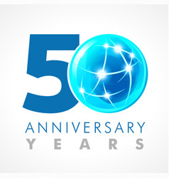 50 anniversary connecting logo vector