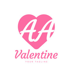 Aa letter logo design with heart icons love vector