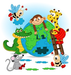 Animals puzzle earth vector
