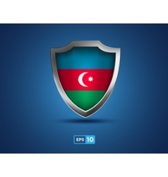 Azerbaijan shield on the blue background vector image