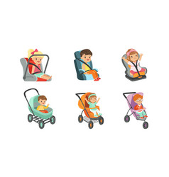 baby carriages with kids sitting inside set vector image