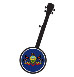 Banjo silhouette with pennsylvania state flag icon vector