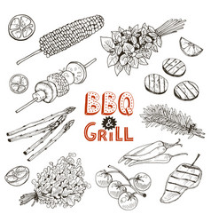 Bbq vegetables sketches vector
