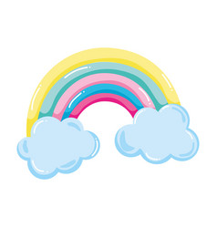 Beauty nature rainbow with fluffy clouds vector