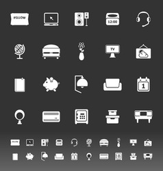 Bedroom icons on gray background vector image