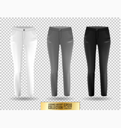 Blank leggings mockup set white gray and black vector