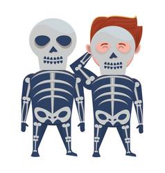 Boys with halloween skulls costumes vector