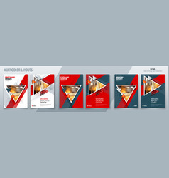 Brochure template layout design with triangles vector