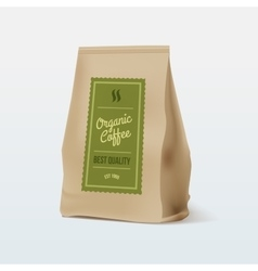 Brown paper food bag package of coffee vector