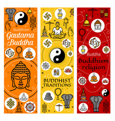 Buddhism mediation and buddhist traditions vector