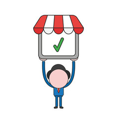 businessman character holding up shop store with vector image