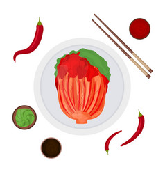 cartoon color korean traditional food kimchi and vector image