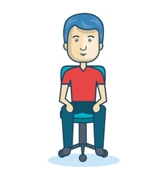 cartoon guy sitting on chair design isolated vector image