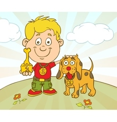 Character boy with dog won on pet show vector