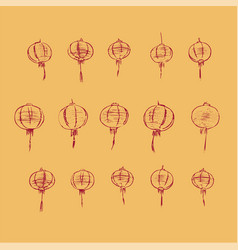chinese lamps pattern hand drawn sketch vector image