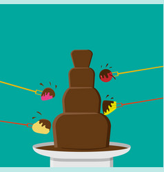 chocolate fondue party in flat style vector image