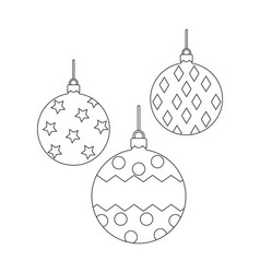 christmas balls coloring book page vector image