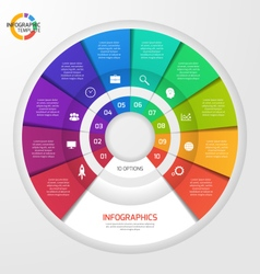 Circle infographic template 10 options vector