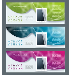 Collection banner design tablet pc computer vector
