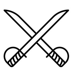 Cross sword fencing icon outline style vector