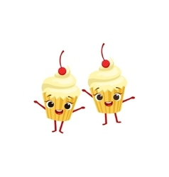 Cupcakes With Cherry On Top Kids Birthday Party vector image