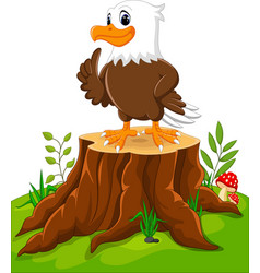 Cute eagle cartoon on tree stump vector