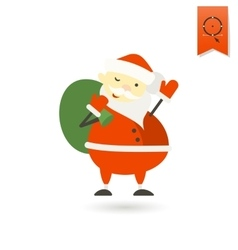 Cute Santa Claus with Big Gifts Bag vector image