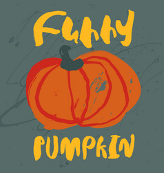 Decorative poster with cute handdrawn pumpkin vector