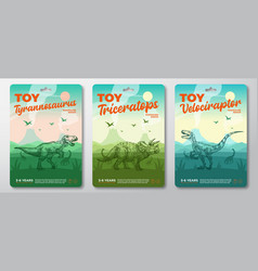 Dinosaur toys labels template set abstract vector