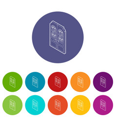 double doors icons set color vector image