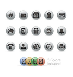 e-shop icons - metal round series vector image